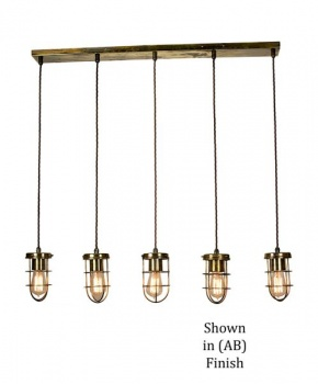 Cellar Single 5 Light Pendant - Antique Brass